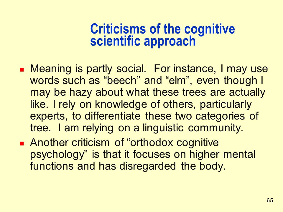 Criticisms of the cognitive scientific approach