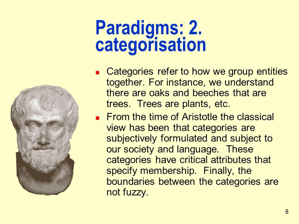 Paradigms: 2. categorisation