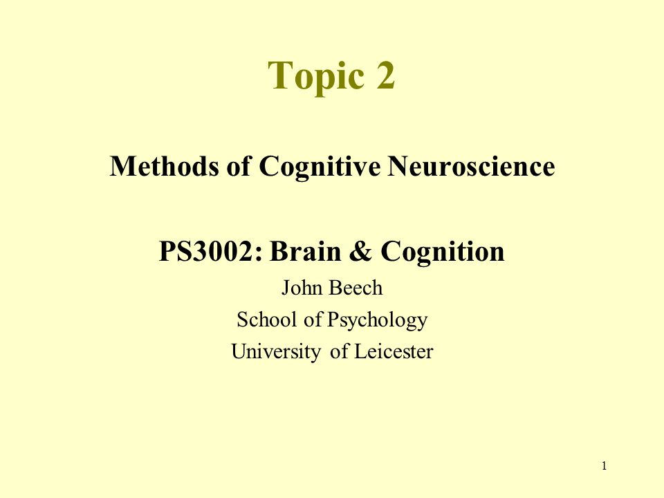 Methods of Cognitive Neuroscience