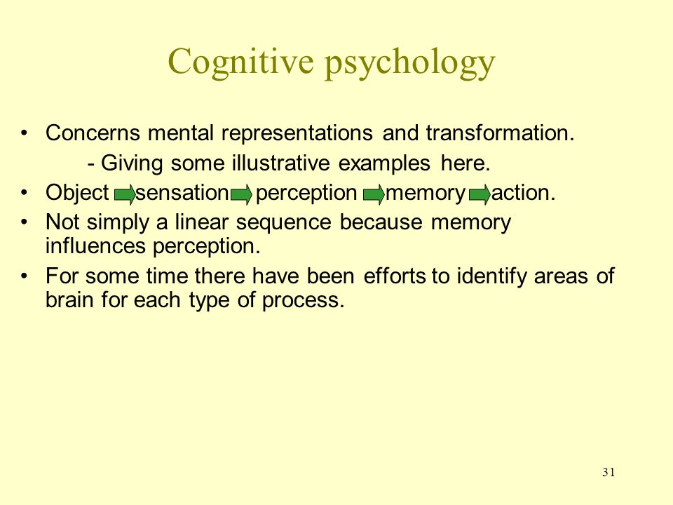 Cognitive psychology Concerns mental representations and transformation. - Giving some illustrative examples here.