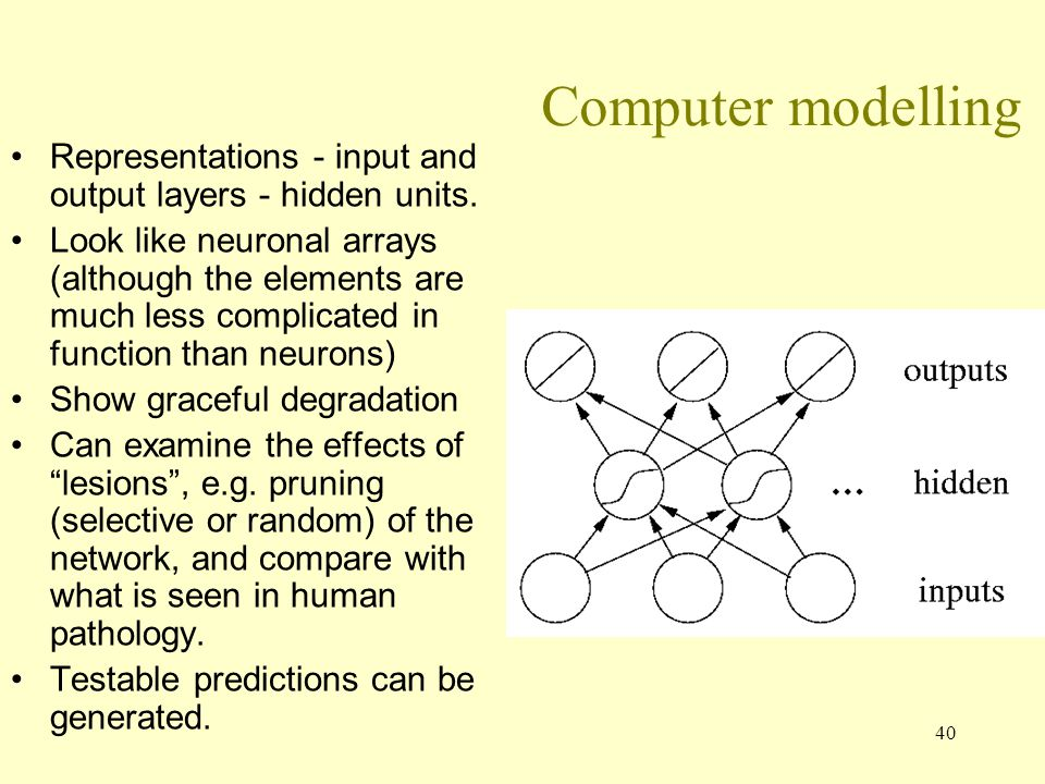 Computer modelling Representations - input and output layers - hidden units.
