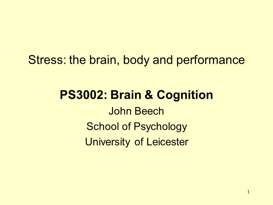 Stress: the brain, body and performance PS3002: Brain & Cognition