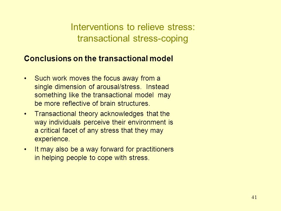 Interventions to relieve stress: transactional stress-coping