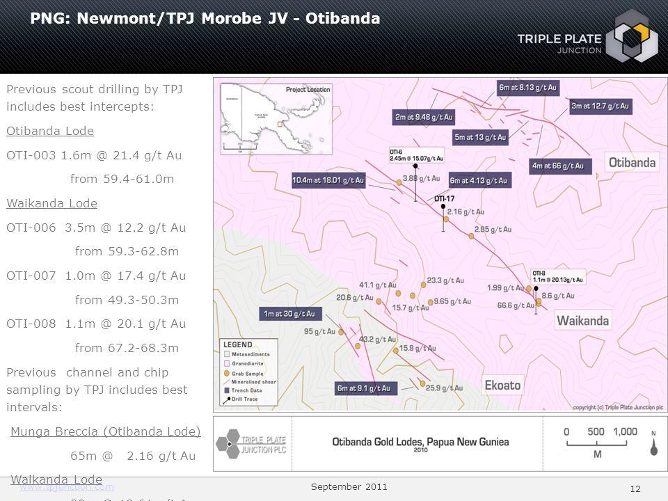 PNG: Newmont/TPJ Morobe JV - Otibanda