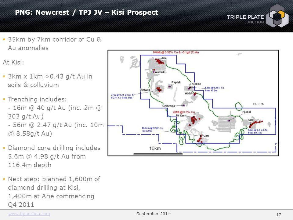 PNG: Newcrest / TPJ JV – Kisi Prospect