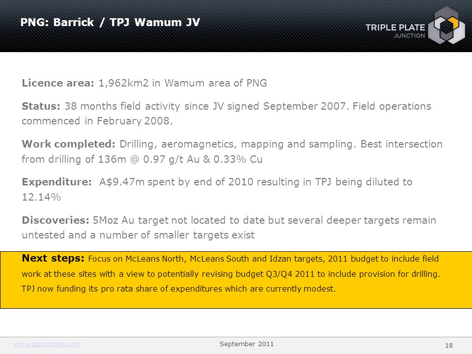 PNG: Barrick / TPJ Wamum JV