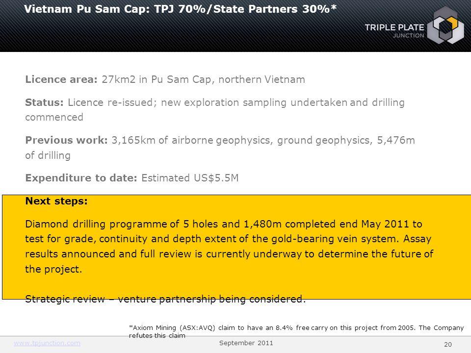 Vietnam Pu Sam Cap: TPJ 70%/State Partners 30%*