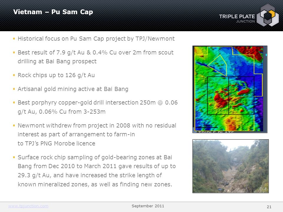2121 Vietnam – Pu Sam Cap. Historical focus on Pu Sam Cap project by TPJ/Newmont.