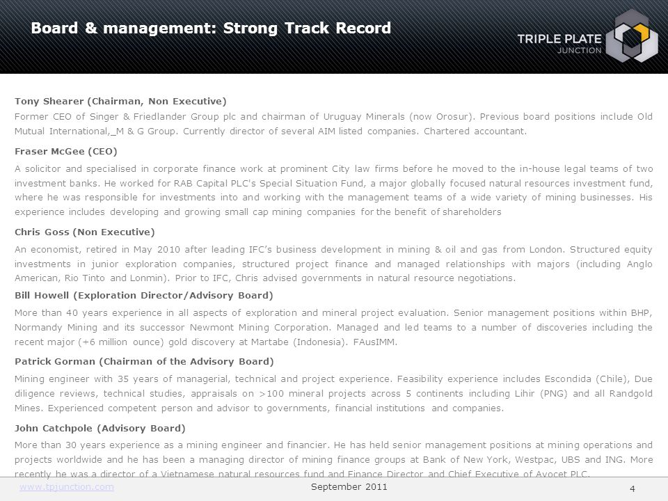Board & management: Strong Track Record
