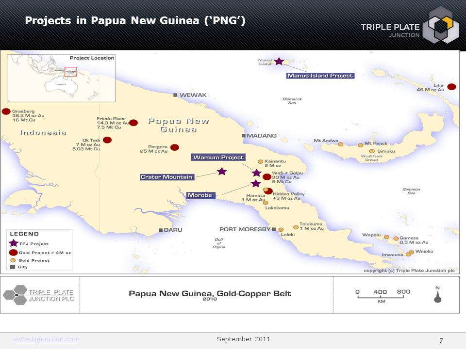 Projects in Papua New Guinea ('PNG')