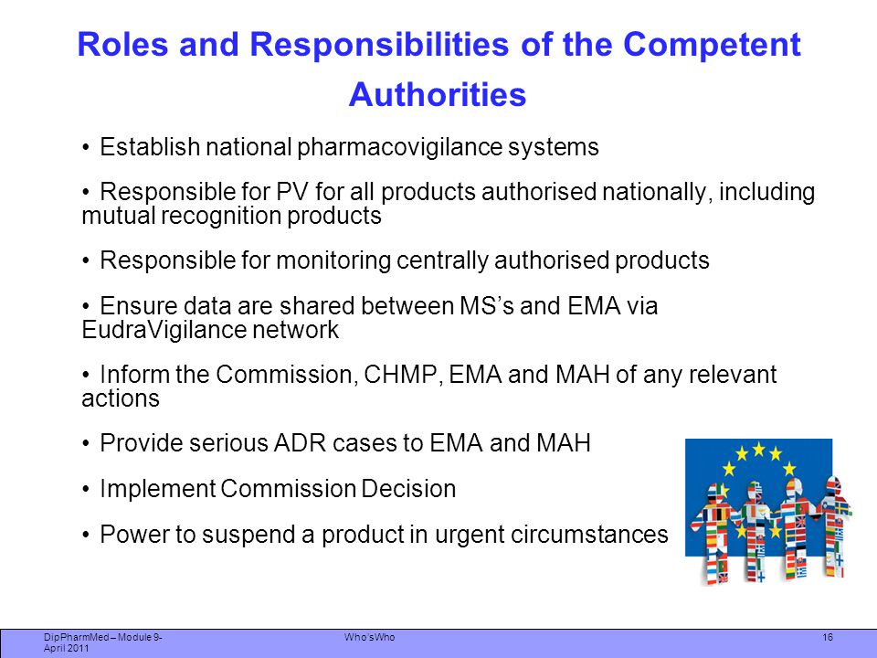 Roles and Responsibilities of the Competent Authorities