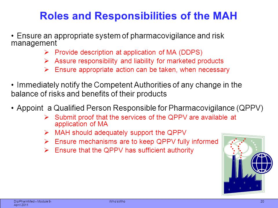 Roles and Responsibilities of the MAH