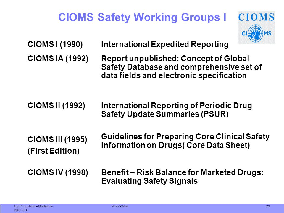 CIOMS Safety Working Groups I