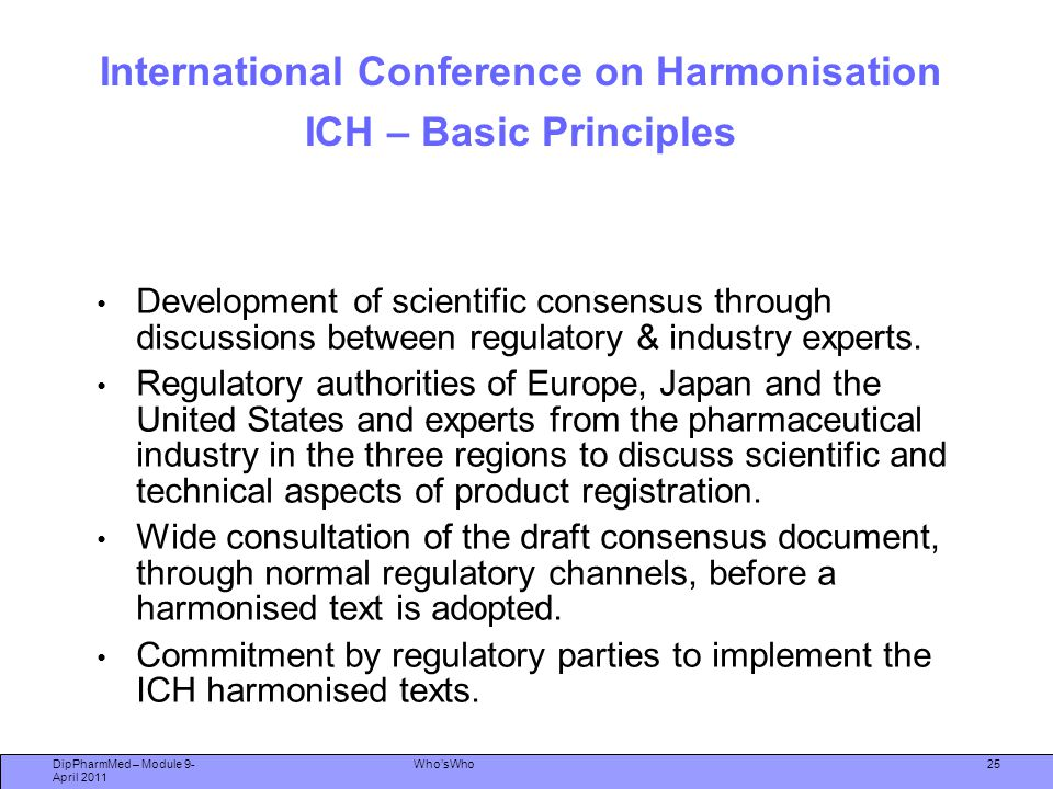International Conference on Harmonisation ICH – Basic Principles