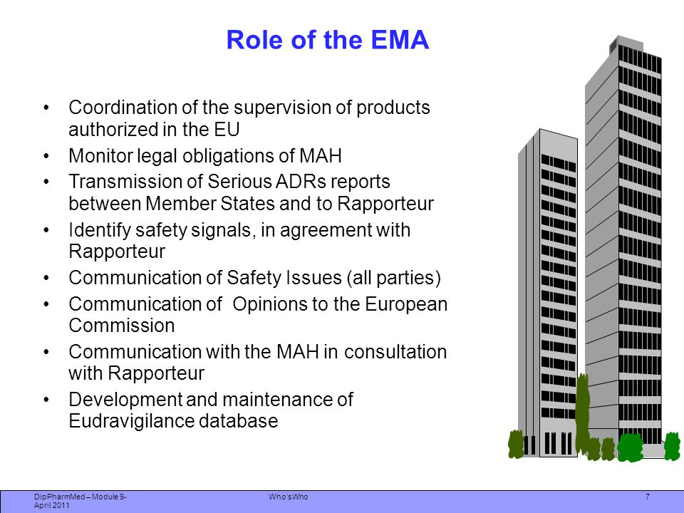 Role of the EMA Coordination of the supervision of products authorized in the EU. Monitor legal obligations of MAH.