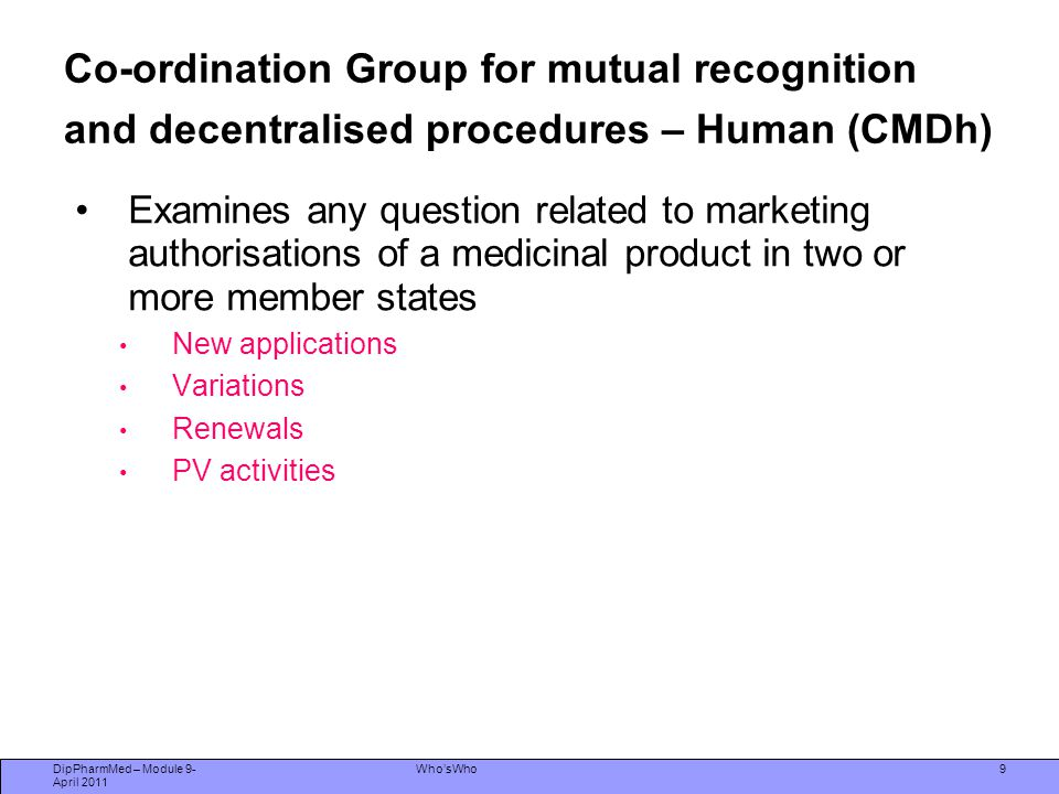 Co-ordination Group for mutual recognition and decentralised procedures – Human (CMDh)