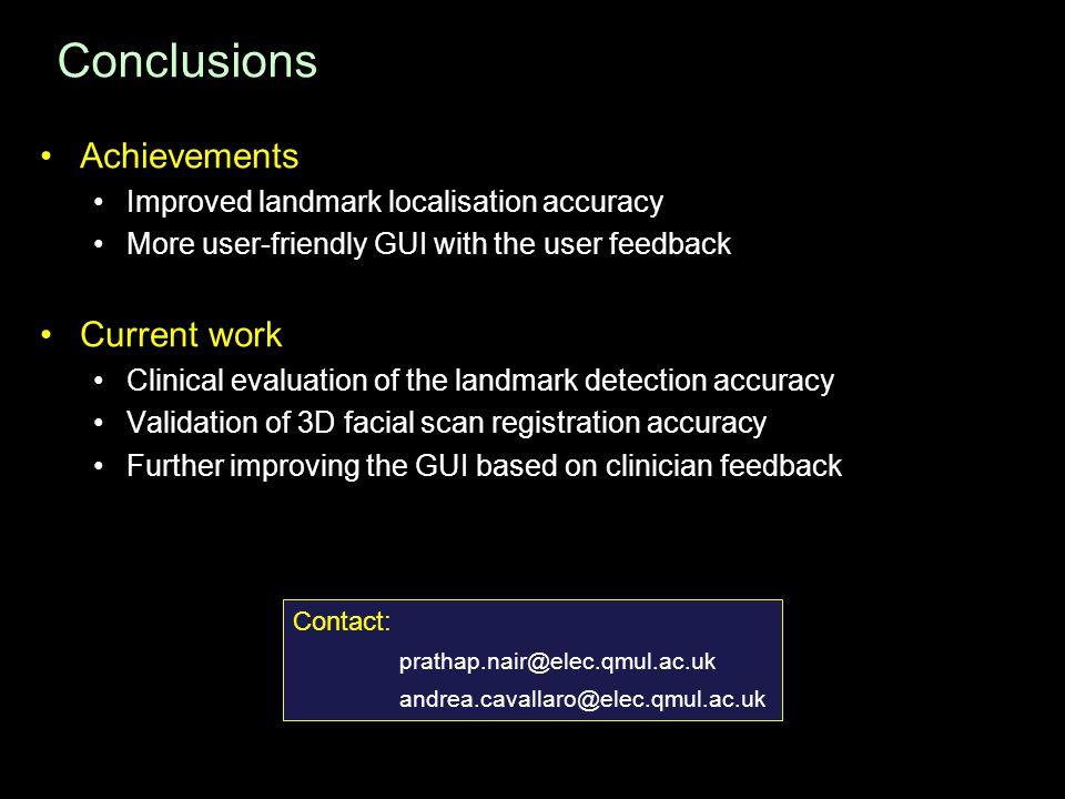 Conclusions Achievements Current work