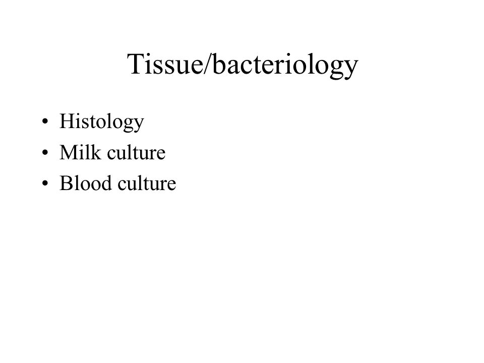 Tissue/bacteriology Histology Milk culture Blood culture