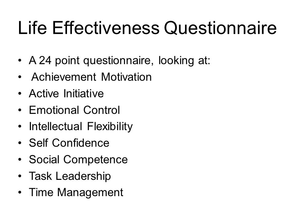 Life Effectiveness Questionnaire