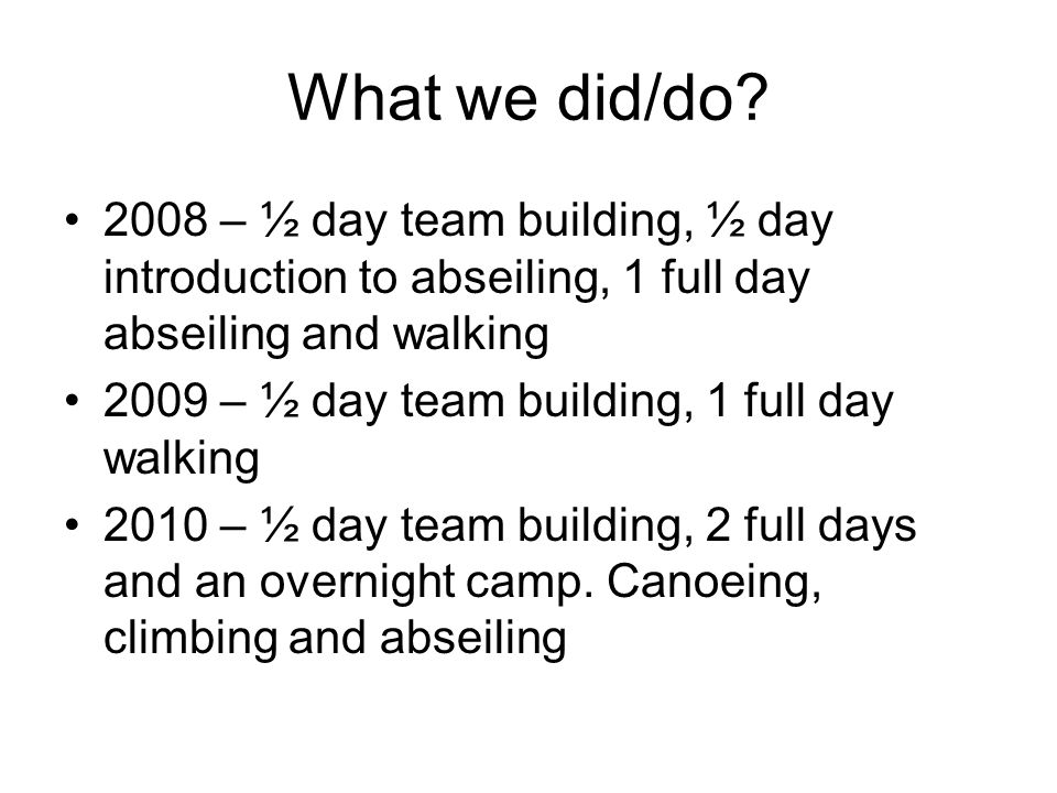 What we did/do 2008 – ½ day team building, ½ day introduction to abseiling, 1 full day abseiling and walking.