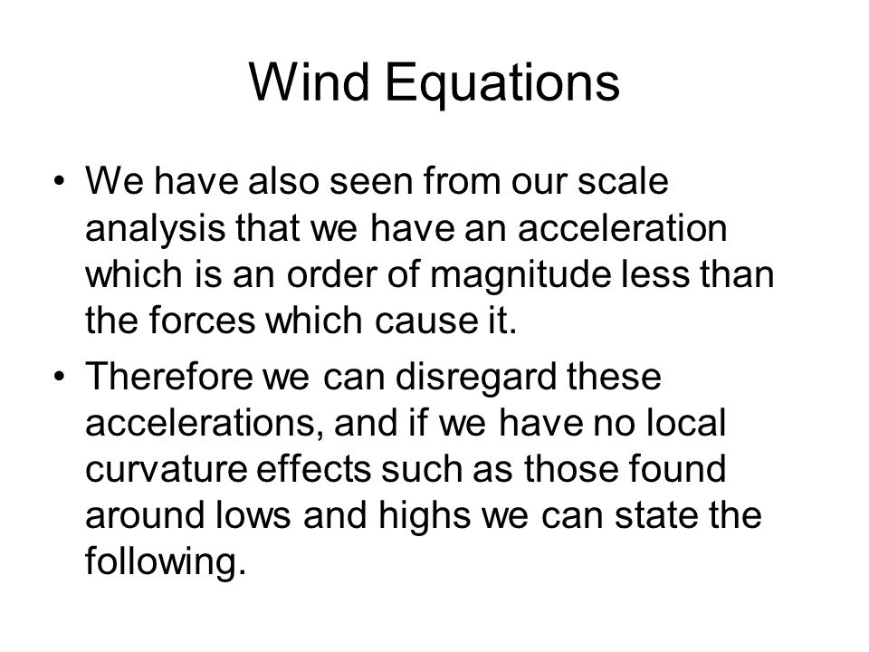 Wind Equations
