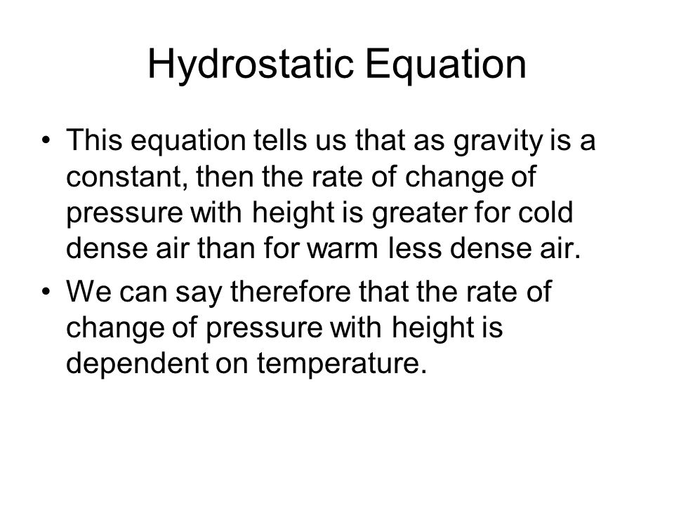 Hydrostatic Equation