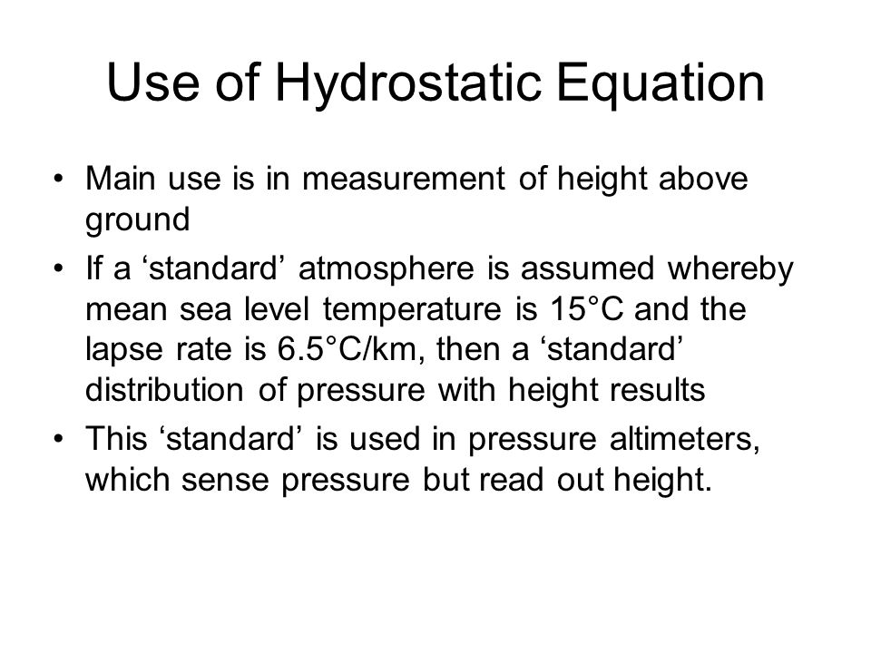 Use of Hydrostatic Equation