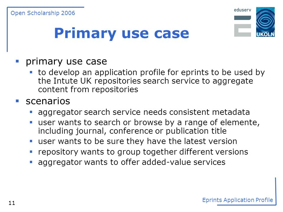 Primary use case primary use case scenarios