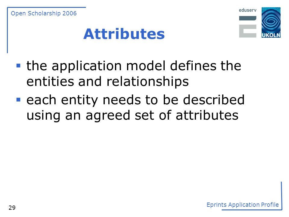 Attributes the application model defines the entities and relationships.