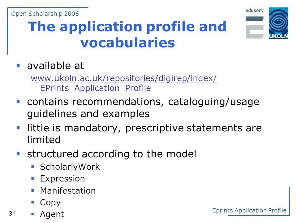 The application profile and vocabularies
