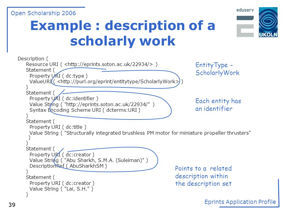 Example : description of a scholarly work
