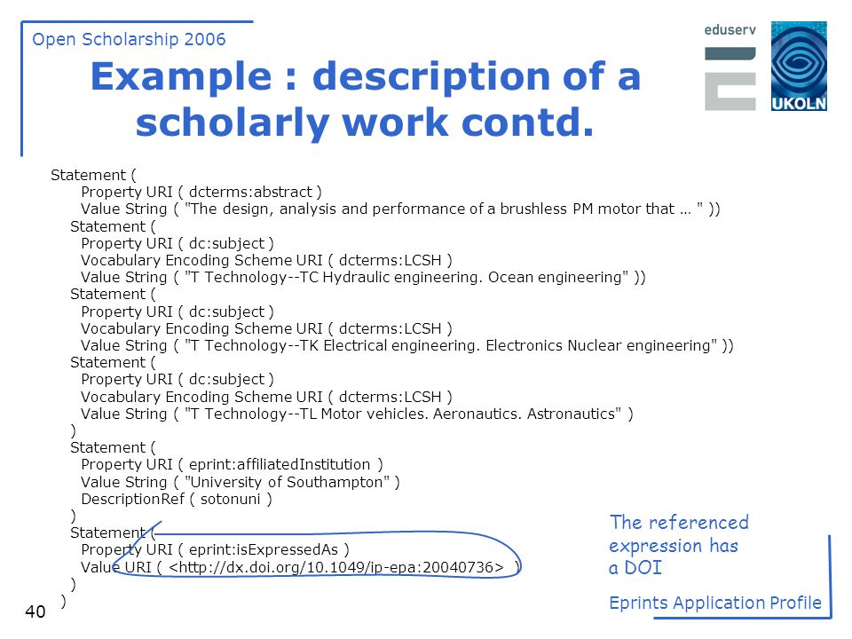 Example : description of a scholarly work contd.