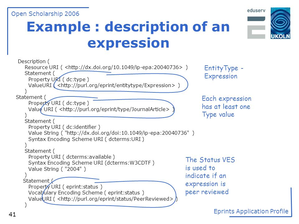 Example : description of an expression