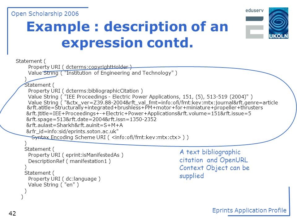 Example : description of an expression contd.