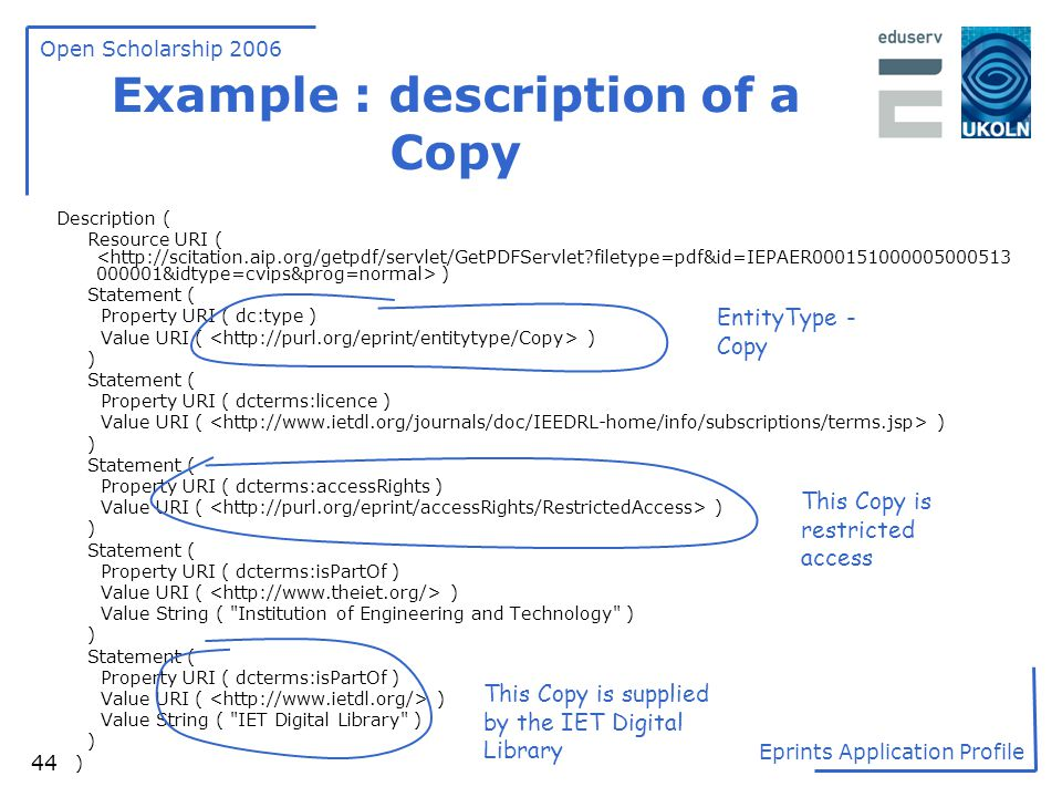 Example : description of a Copy