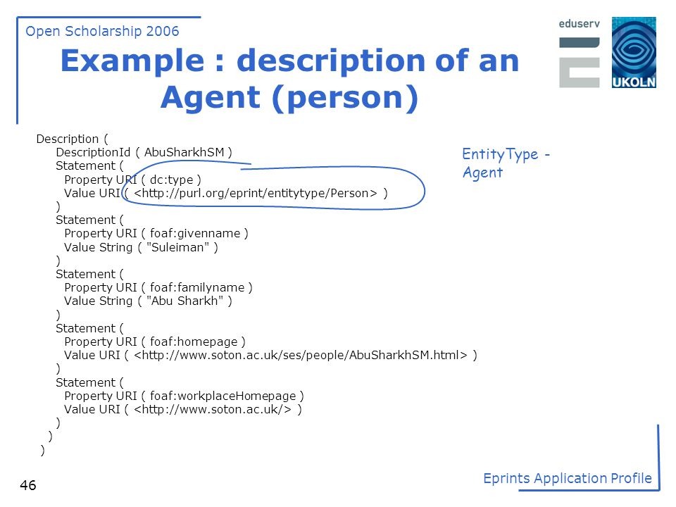 Example : description of an Agent (person)