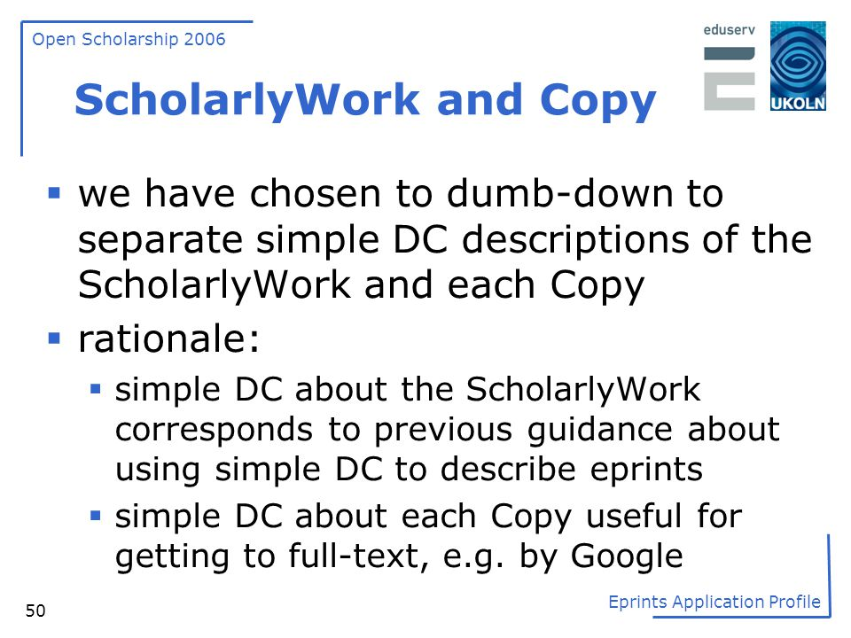 ScholarlyWork and Copy