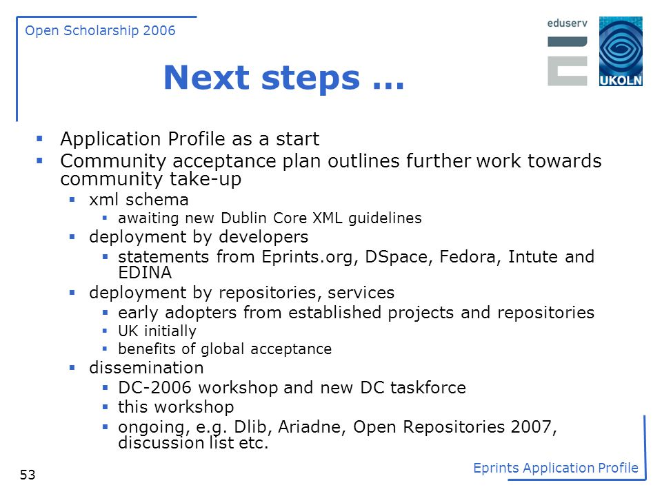 Next steps … Application Profile as a start