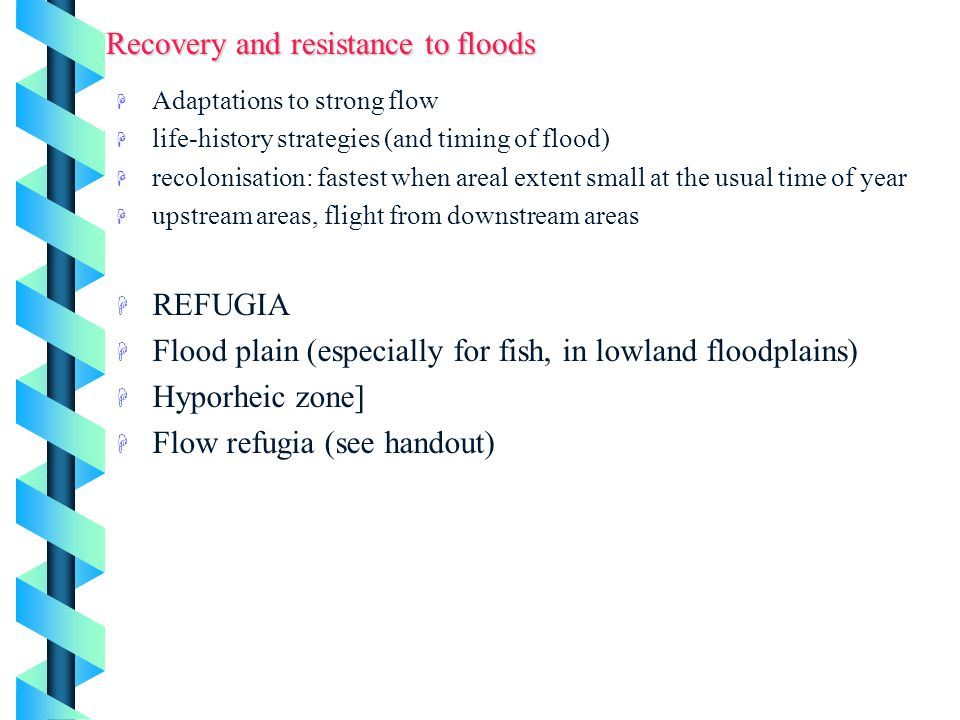 Recovery and resistance to floods