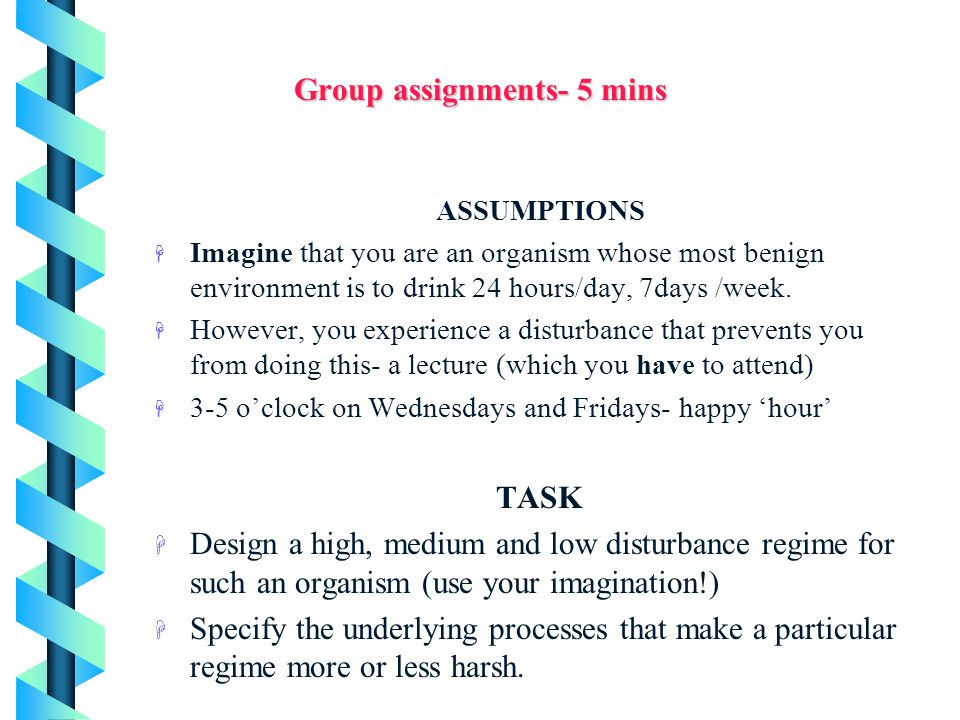 Group assignments- 5 mins