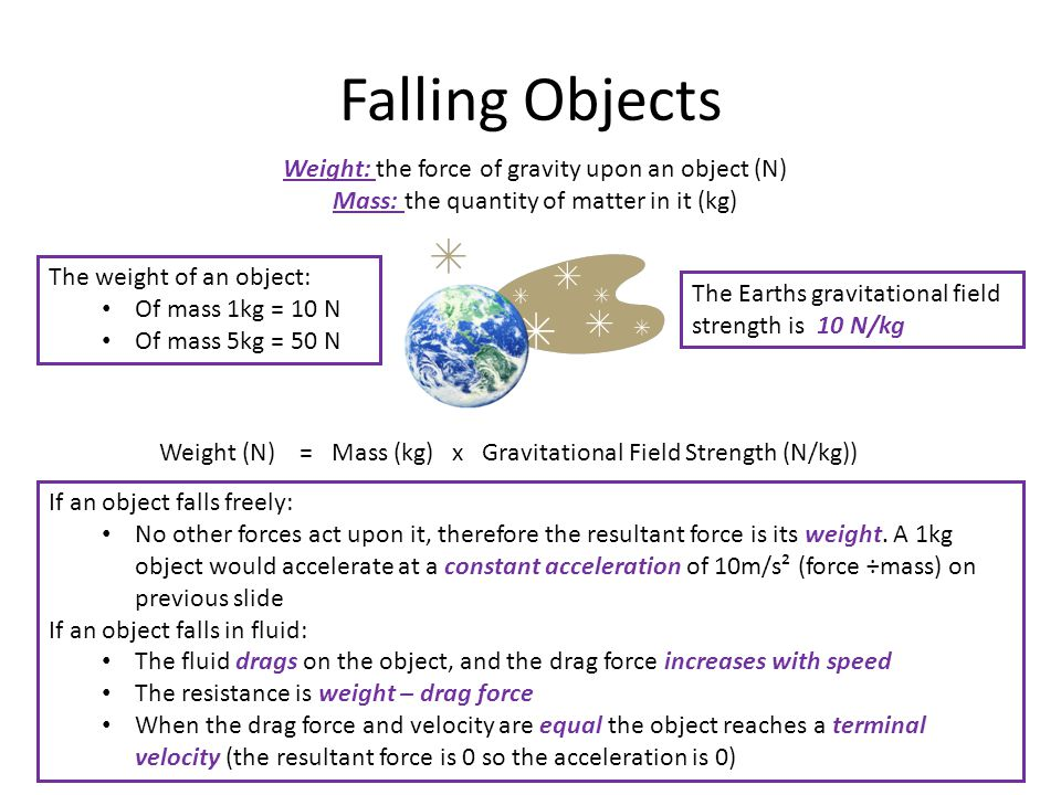 Falling Objects Weight: the force of gravity upon an object (N)