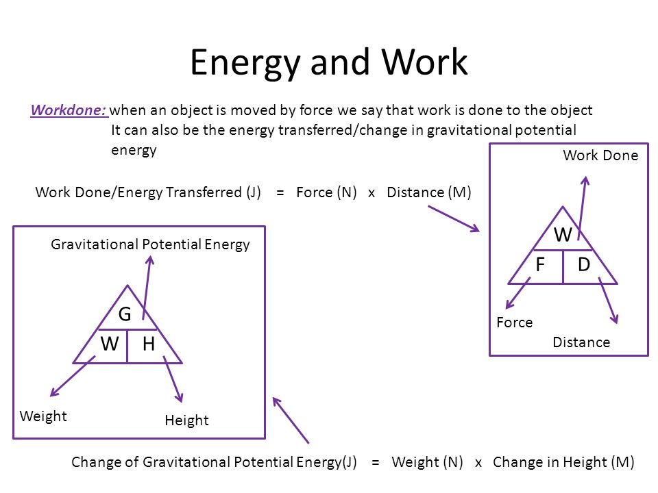 Energy and Work Workdone: when an object is moved by force we say that work is done to the object.