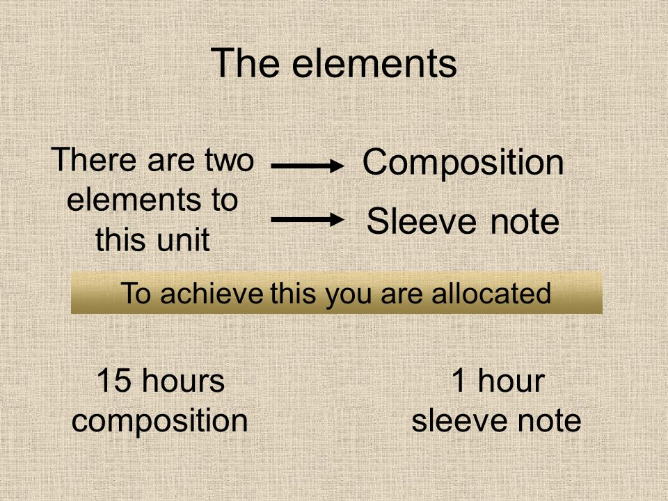 The elements Composition Sleeve note