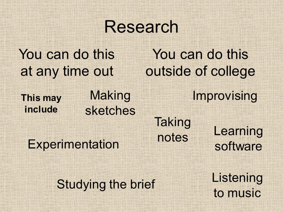 Research You can do this at any time out