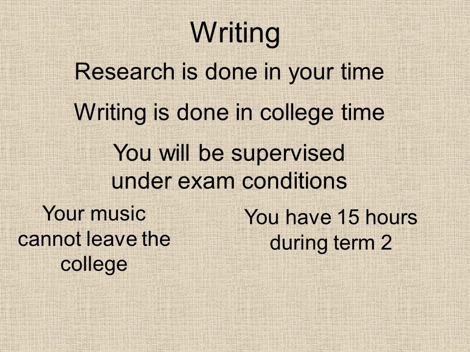 Writing Research is done in your time Writing is done in college time