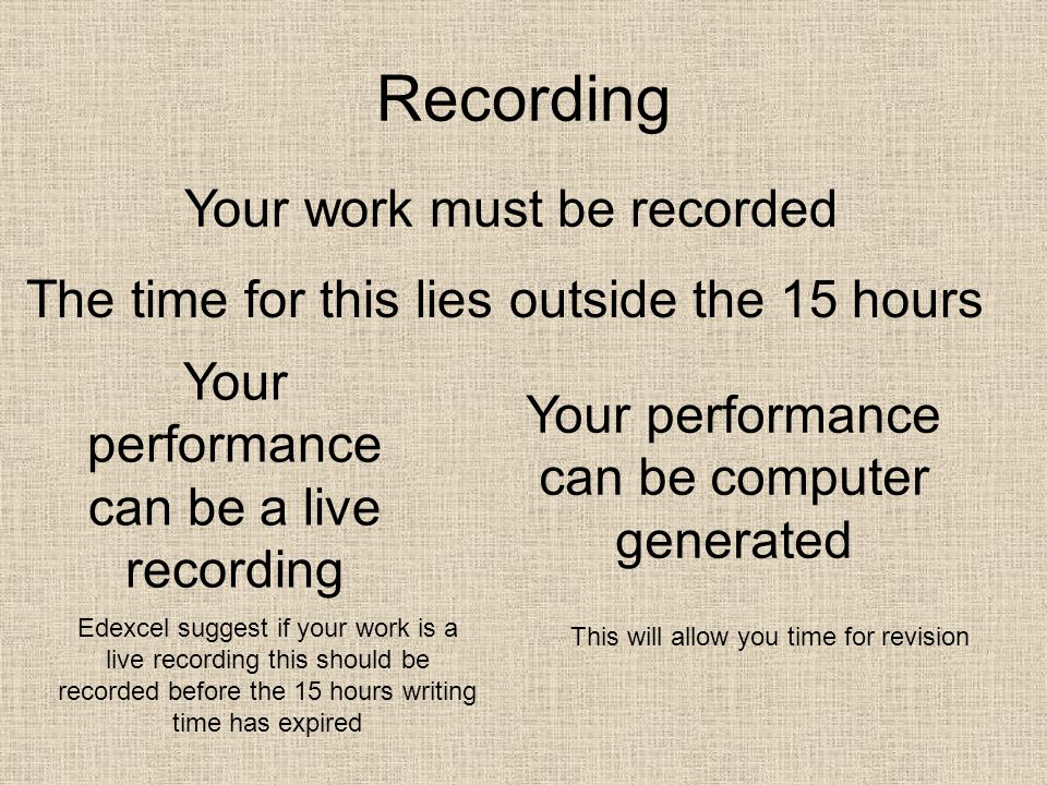 Recording Your work must be recorded