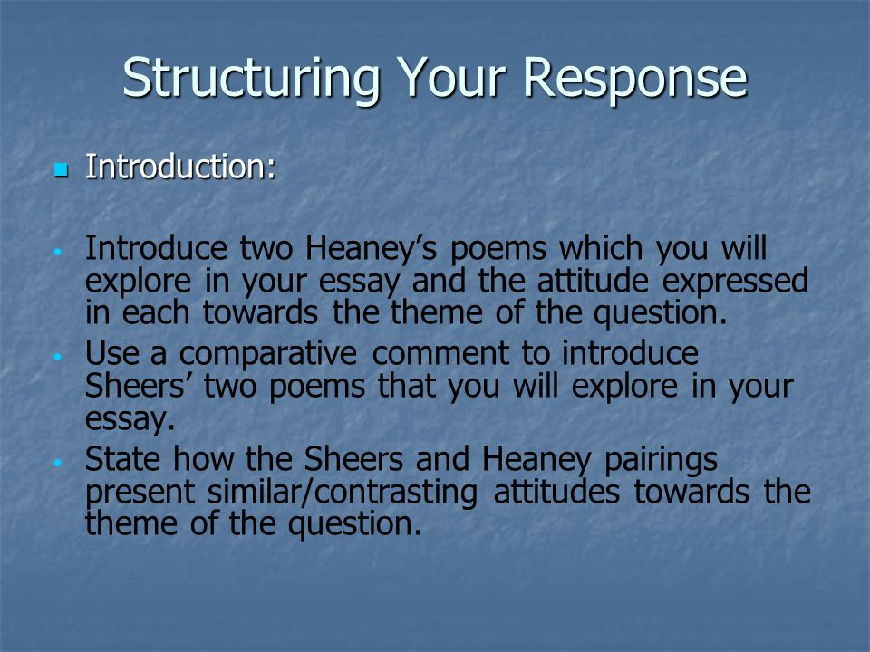 Structuring Your Response