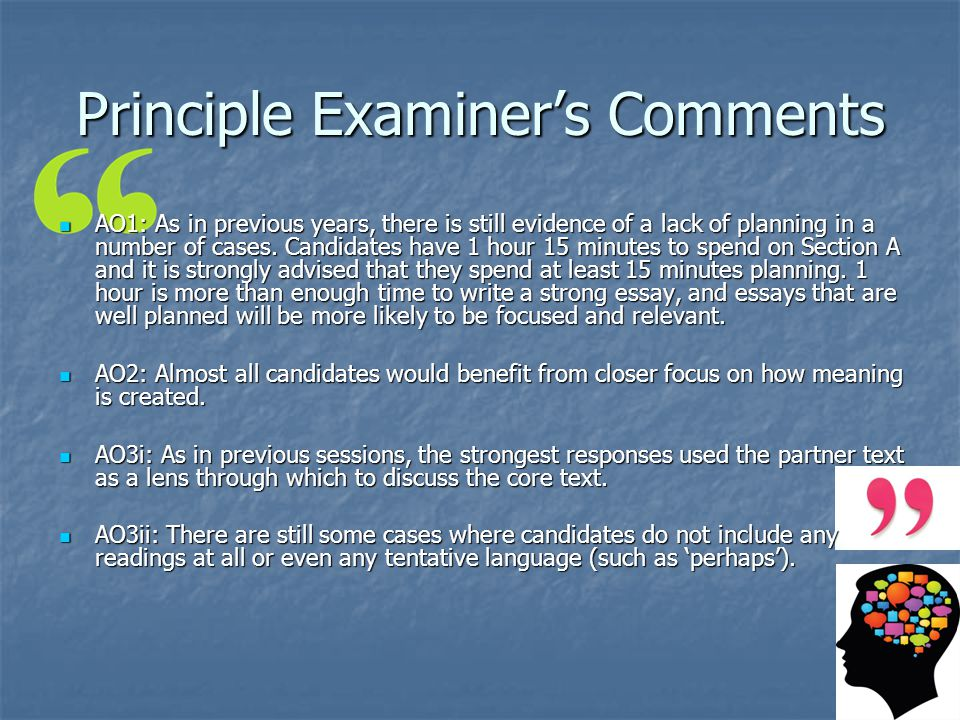 Principle Examiner's Comments