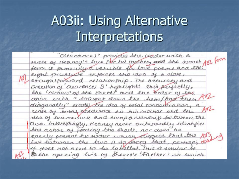A03ii: Using Alternative Interpretations