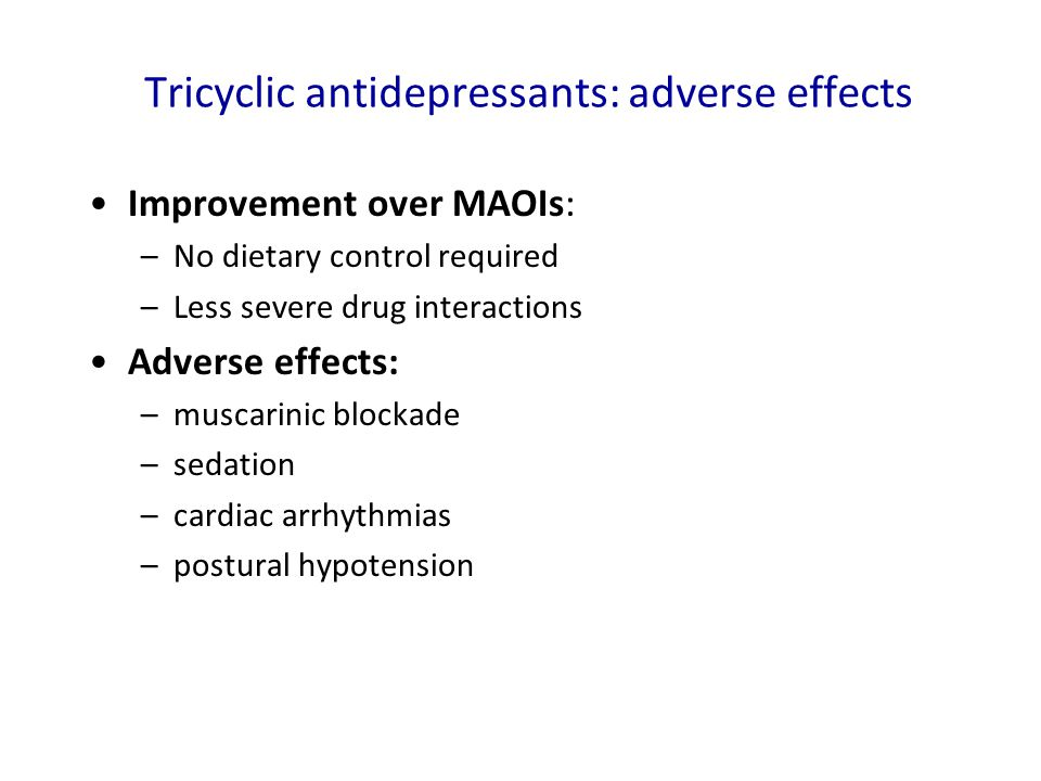 Tricyclic antidepressants: adverse effects